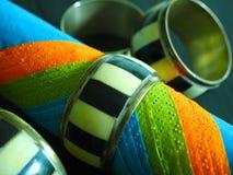 Tres servilletas coloreadas junto Foto de archivo libre de regalías