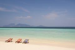 Tres sillas de playa Imagen de archivo