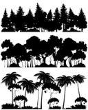 Tres siluetas de los bosques stock de ilustración