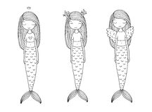 Tres sirenas lindas de la historieta Sirena Tema del mar ilustración del vector