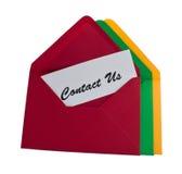 Tres sobres con el contacto nosotros mensaje Imagenes de archivo