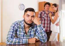Tres socios infelices que tienen problemas Fotografía de archivo libre de regalías