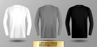 Tres sombras de camiseta larga blanca, gris y negra de la manga Mofa del vector para arriba Imagen de archivo libre de regalías