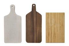 Tres tableros de madera de la cocina que tajan aislados en el fondo blanco fotos de archivo