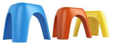 Tres taburetes modulares coloridos Imágenes de archivo libres de regalías