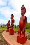 Tres tallas maoríes Nueva Zelanda imagen de archivo