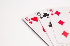 Tres tarjetas de los sixes Foto de archivo