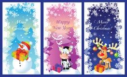 Tres tarjetas de Navidad del vector Foto de archivo libre de regalías