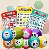 Tres tarjetas del bingo y fondos de las bolas del bingo Fotografía de archivo libre de regalías