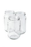 Tres tarros de cristal vacíos Fotografía de archivo libre de regalías