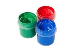 Tres tarros del RGB con gouache coloreada Fotografía de archivo libre de regalías