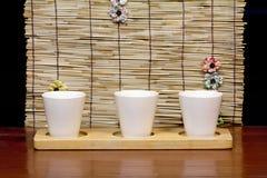 Tres tazas blancas Fotografía de archivo libre de regalías