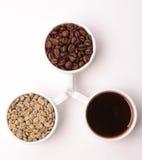Tres tazas blancas con diversas etapas del café: las habas verdes y asadas y alistan la bebida Fotografía de archivo libre de regalías