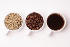 Tres tazas blancas con diversas etapas del café: las habas verdes y asadas y alistan la bebida Imágenes de archivo libres de regalías