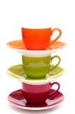 Tres tazas coloreadas del café express Fotos de archivo libres de regalías