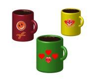 Tres tazas de café Foto de archivo libre de regalías