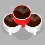 Tres tazas de café Fotografía de archivo libre de regalías