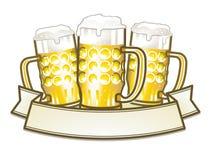 Tres tazas de cerveza Imágenes de archivo libres de regalías