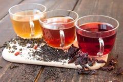 Tres tazas de cristal de té Imágenes de archivo libres de regalías