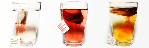 Tres tazas de diverso té Foto de archivo libre de regalías