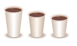 Tres tazas de papel llenadas de cacao Foto de archivo