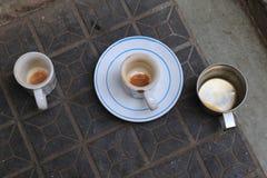 Tres tazas vacías Imagenes de archivo