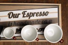 Tres tazas vacías de arte del latte Imágenes de archivo libres de regalías