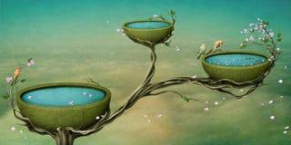 Tres tazones de fuente de agua en el árbol. Imagen de archivo