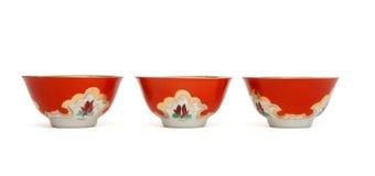 Tres tazones de fuente de la porcelana aislados Imagen de archivo