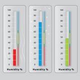 Tres termómetros con diversas temperaturas Fotos de archivo