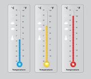 Tres termómetros con diversas temperaturas, frío, caliente, medio Foto de archivo