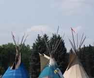 Tres tiendas de los indios norteamericanos Imágenes de archivo libres de regalías