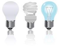 Tres, tipo, luz, bulbos Fotos de archivo libres de regalías