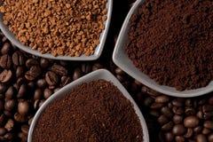 Tres tipos de café Imagen de archivo