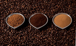 Tres tipos de café Fotos de archivo libres de regalías