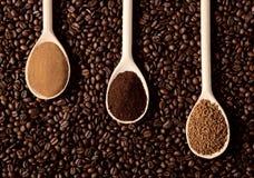 Tres tipos de café Foto de archivo libre de regalías