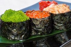 Tres tipos de caviar. Foto de archivo libre de regalías