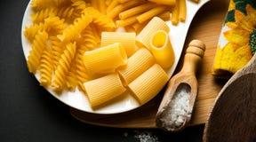 Tres tipos de pastas italianas Imagenes de archivo