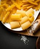 Tres tipos de pastas italianas Imágenes de archivo libres de regalías
