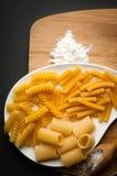 Tres tipos de pastas italianas Foto de archivo libre de regalías