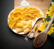 Tres tipos de pastas italianas Imagen de archivo