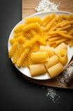 Tres tipos de pastas italianas Fotografía de archivo