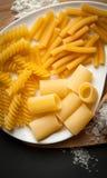 Tres tipos de pastas italianas Fotos de archivo