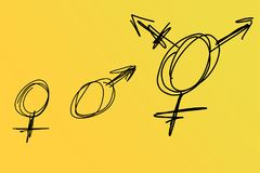 Tres tipos de símbolos del género Foto de archivo