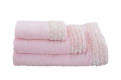 Tres toallas rosadas fotos de archivo libres de regalías