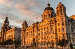 Tres tolerancias en la puesta del sol, Liverpool Imagen de archivo libre de regalías