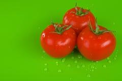 Tres tomates frescos Fotos de archivo