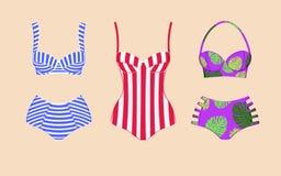 Tres trajes de baño retros del vintage Imagenes de archivo