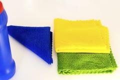 Tres trapos de la cocina para el polvo de limpieza imagen de archivo libre de regalías