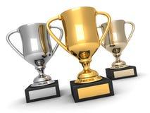 Tres trofeos, oros, platas y bronces stock de ilustración